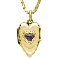 9ct Yellow Gold Blue John Beaded Edge Heart Locket Necklace