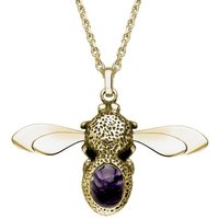 9ct Yellow Gold Blue John Stone Set Bee Necklace