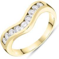 9ct Yellow Gold Diamond Brilliant Cut Wishbone Ring