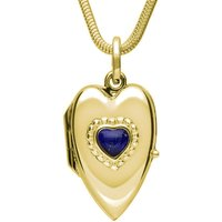 9ct Yellow Gold Lapis Lazuli Beaded Edge Heart Locket Necklace