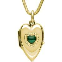 9ct Yellow Gold Malachite Beaded Edge Heart Locket Necklace