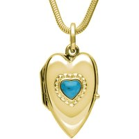 9ct Yellow Gold Turquoise Beaded Edge Heart Locket Necklace