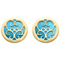 9ct Yellow Gold Turquoise Flore Filigree Earrings