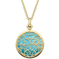 9ct Yellow Gold Turquoise Flore Filigree Necklace