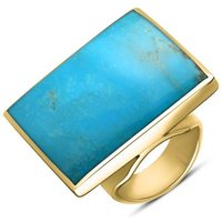9ct Yellow Gold Turquoise Large Square Ring