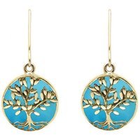 9ct Yellow Gold Turquoise Round Large Tree of Life Leaves Drop Earrings