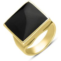9ct Yellow Gold Whitby Jet Small Square Ring