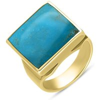 9ct Yellow Gold Turquoise Small Square Ring