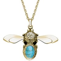 9ct Yellow Gold Turquoise Stone Set Body Bee Necklace