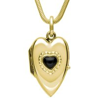 9ct Yellow Gold Whitby Jet Beaded Edge Heart Locket Necklace