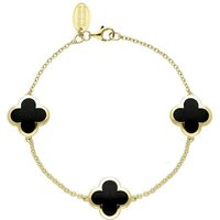 9ct Yellow Gold Whitby Jet Bloom Four Leaf Clover Chain Bracelet