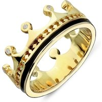 9ct Yellow Gold Whitby Jet Diamond Tiara Patterned Band Ring