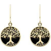 9ct Yellow Gold Whitby Jet Round Tree Drop Earrings