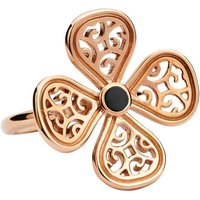 9ct Rose Gold Whitby Jet Flore Four Petal Filigree Ring