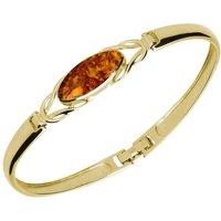 9ct Yellow Gold Amber Celtic Oval Clip Bangle