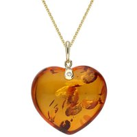 9ct Yellow Gold Amber Diamond Large Heart Necklace