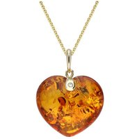9ct Yellow Gold Amber Diamond Small Heart Necklace