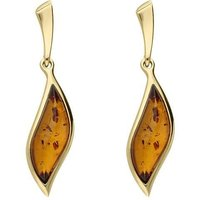 9ct Yellow Gold Amber Marquise Drop Stud Earrings