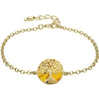 9ct Yellow Gold Amber Round Tree Chain Bracelet