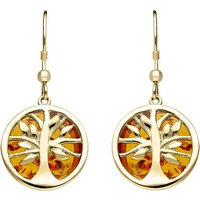 9ct Yellow Gold Amber Round Tree Drop Earrings