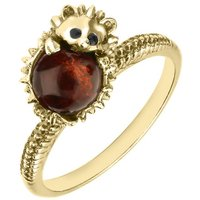 9ct Yellow Gold Amber Tiny Hedgehog Ring
