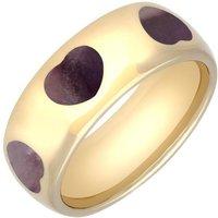 9ct Yellow Gold Blue John 8mm Heart Inlaid Band Ring