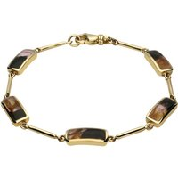9ct Yellow Gold Blue John Five Stone Oblong Bar Bracelet