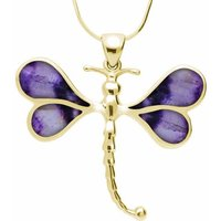 9ct Yellow Gold Blue John Four Stone Dragonfly Necklace