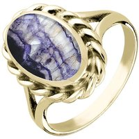 9ct Yellow Gold Blue John Heavy Oval Rope Edge Ring