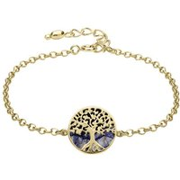 9ct Yellow Gold Blue John Round Tree of Life Chain Bracelet