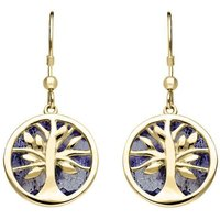 9ct Yellow Gold Blue John Round Tree of Life Drop Earrings