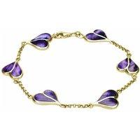 9ct Yellow Gold Blue John Split Heart Bracelet