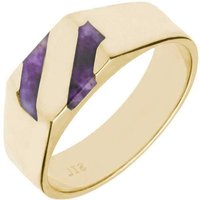 9ct Yellow Gold Blue John Two Stone Slither Signet Ring