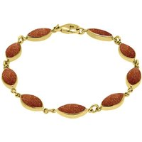 9ct Yellow Gold Brown Goldstone Marquise Bracelet