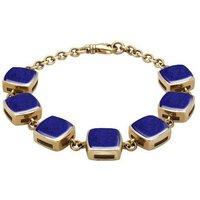 9ct Yellow Gold Lapis Lazuli Cushion Bracelet