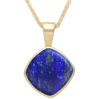 9ct Yellow Gold Lapis Lazuli Cushion Shaped Necklace