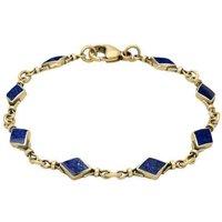 9ct Yellow Gold Lapis Lazuli Diamond Shaped Bracelet