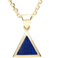 9ct Yellow Gold Lapis Lazuli Flat Triangle Necklace