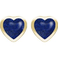 9ct Yellow Gold Lapis Lazuli Large Framed Heart Stud Earrings