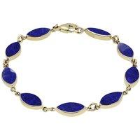 9ct Yellow Gold Lapis Lazuli Marquise Bracelet