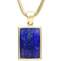 9ct Yellow Gold Lapis Lazuli Oblong Necklace
