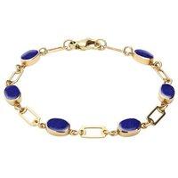 9ct Yellow Gold Lapis Lazuli Oval Linked Bracelet