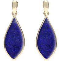 9ct Yellow Gold Lapis Lazuli Pointed Pear Drop Earrings