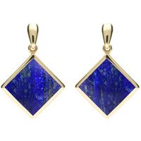 9ct Yellow Gold Lapis Lazuli Rhombus Drop Earrings