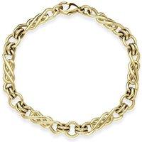9ct Yellow Gold Large Swirls Linked Handmade Bracelet
