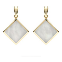 9ct Yellow Gold Mother of Pearl Rhombus Drop Earrings