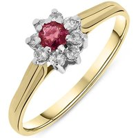 9ct Yellow Gold Nine Stone Ruby and Diamond Cluster Ring