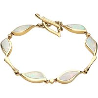 9ct Yellow Gold Opal Six Stone Leaf Bracelet