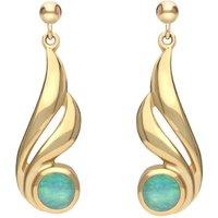 9ct Yellow Gold Opal Double Twist Drop Earrings