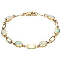 9ct Yellow Gold Opal Oval Linked Bracelet